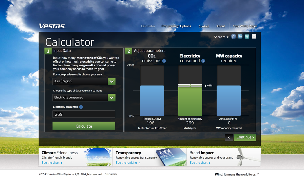 Vestas Custom Landing Page - Energy Efficiency Calculator