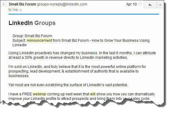 LinkedIn Group Announcements