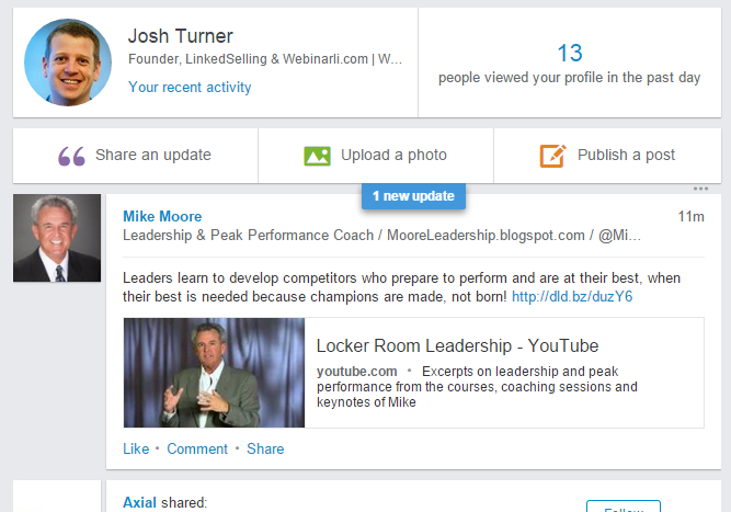 Marketing Webinars with LinkedIn Status Updates