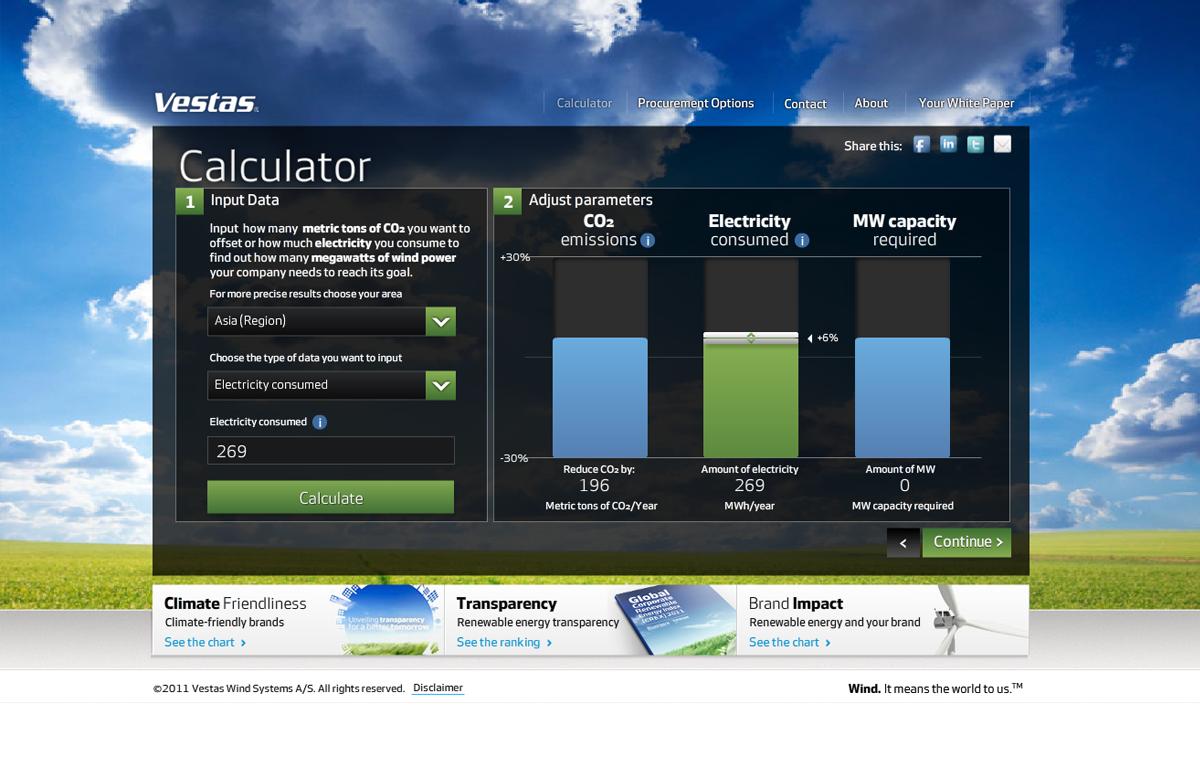 Vestas Custom Landing Page - Energy Efficiency Calculator