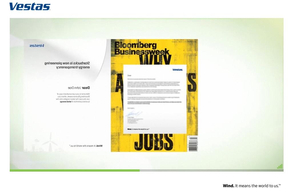 Vestas Businessweek Custom Wrapped Magazine
